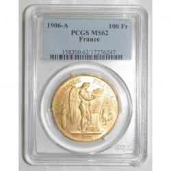 FRANKREICH - KM 832 - 100 FRANCS 1906 A - GOLD - GENIUS - PCGS MS 62