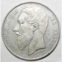 BELGIUM - KM 25 - 5 FRANCS 1867 - LEOPOLD II - TYPE LARGE HEAD - RARE