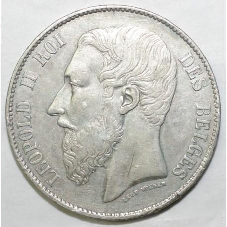 BELGIQUE - KM 25 - 5 FRANCS 1867 - LEOPOLD II - TYPE GROSSE TÊTE - RARE